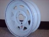 "12"" Gloss White Steel Spoke Rim with Red/Blue Pinstripe 12x4 4Hx4 BP"