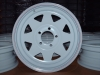 "12"" Gloss White Steel Spoke Rim with Red/Blue Pinstripe 12x4 5Hx4.5"" BP"